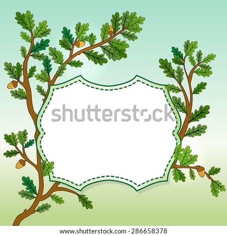 Oak leaves banner - stock photo