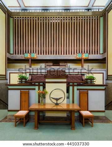 OAK PARK, ILLINOIS - JUNE 15, 2016: Altar of the Unity Temple designed by Frank Lloyd Wright on June 15, 2016 in Oak Park, Illinois - stock photo