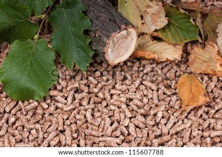 Oak pellets and materials pellets made - stock photo