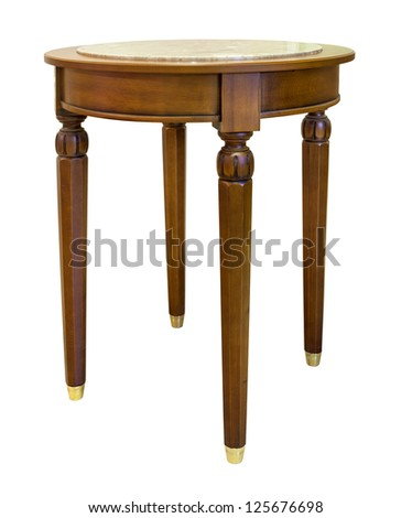oak table isolated on the white background - stock photo