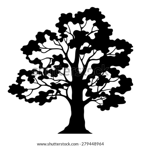 Oak Tree Pictogram, Black Silhouette and Contours Isolated on White Background.  - stock photo