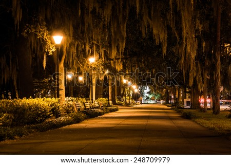 Oak trees and path at night in Forsyth Park, Savannah, Georgia.