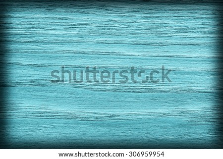 Oak Wood Bleached and Stained Cyan, Vignette Grunge Texture Sample. - stock photo