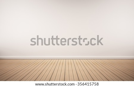 Oak wood floor with white wall - stock photo