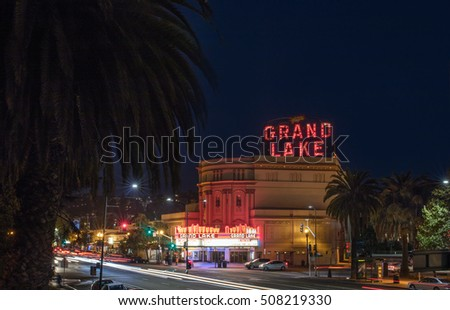OAKLAND, CA-SEP 1, 2016:  The Grand Lake Theatre is a historic movie palace located at 3200 Grand Avenue and Lake Park Avenue in the Grand Lake neighborhood of Oakland, California.
