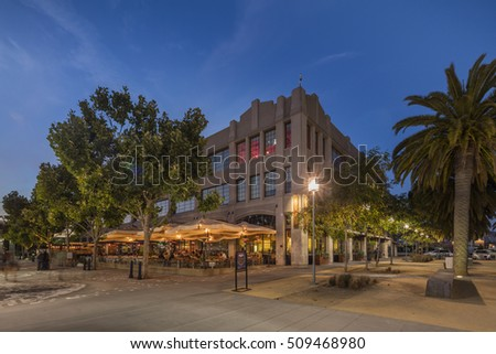 Oakland, CA, USA - July 30, 2016: Jack London Square with Restaurants and Nightlife. Jack London Square is a popular entertainment and business destination on the waterfront of Oakland, California