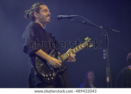 Oakland, CA/USA - 9/17/16: Taylor Rice of Local Natives performs at the Fox Theater.  The bands debut album, Gorilla Manor, debuted in the Billboard 200 and at No. 3 in the New Artist Chart.
