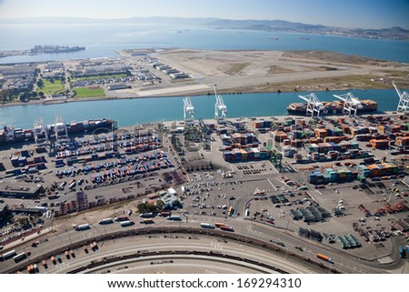 OAKLAND, CALIFORNIA, USA-OCTOBER 26, 2011: Port of Oakland, Middle Harbor Container Terminal. It occupies 81 acres, 5 traveling container-handling cranes incl. 374 outlets for refrigerated containers - stock photo
