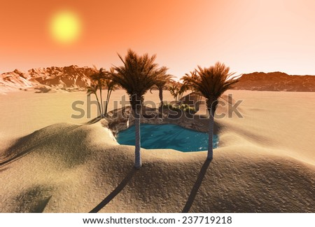 Oasis in the desert made in 3d software - stock photo