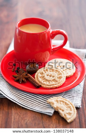 Oat bran cookies with spices, selective focus - stock photo