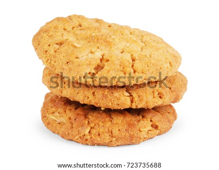 Oat cookie isolated on white background