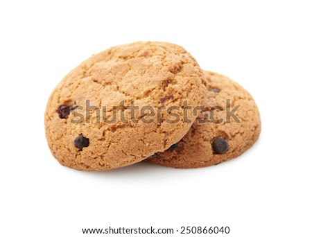 oat cookies on white background - stock photo
