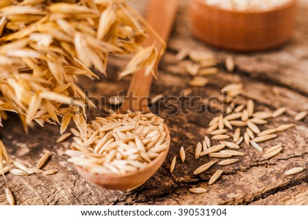 Oat ears of grain on a wooden table, oatmeal. Bounteous harvest. A  Healthy fresh Dry Oat meal