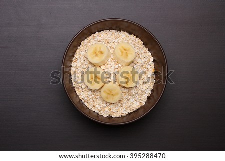 Oat flakes. Healthy food concept. Top view - stock photo