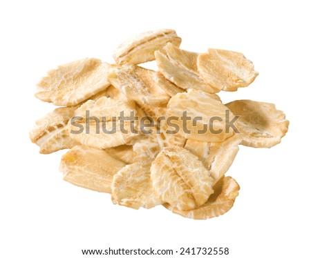 oat flakes isolated - stock photo