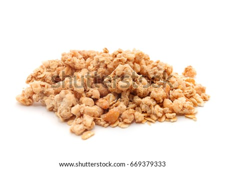 Oat Granola breakfast cereal isolated on white background