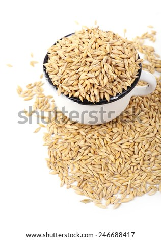 Oat in metal mug isolated on white