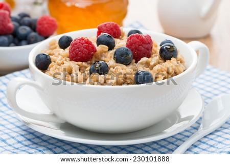 oat porridge with berries, close-up - stock photo