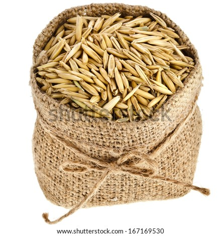 oat seed grain in burlap sack bag isolated on white  background - stock photo