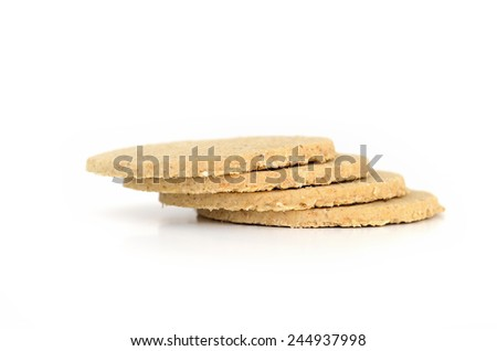 Oatcakes nutritious biscuit for coffee time in morning - stock photo
