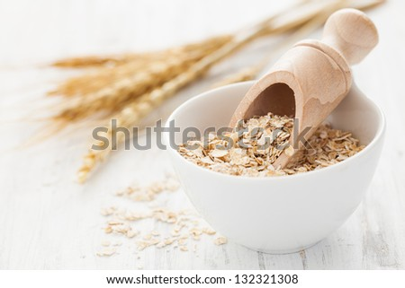 oatflakes in a bowl - stock photo