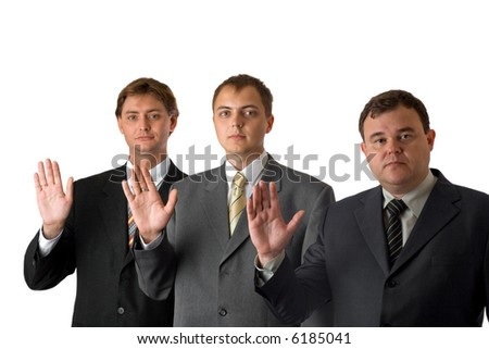Oath of businessmen - stock photo