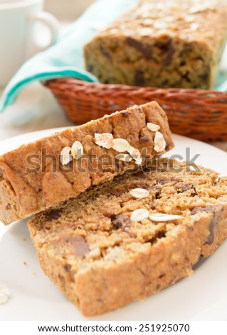 oatmeal cake with chocolate drops - stock photo