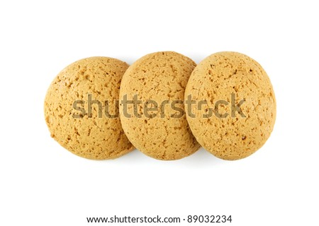 Oatmeal chip cookies isolated on white background. View from above.