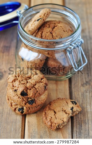 Oatmeal cookie in a jar - stock photo