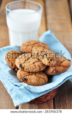 Oatmeal cookie with milk - stock photo