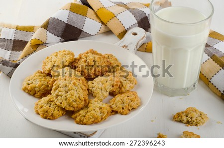 Oatmeal cookies and a glass of milk. Healthy breakfast