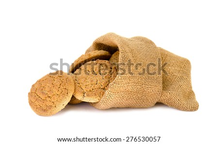 oatmeal cookies in a sack the isolated