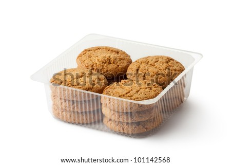 Oatmeal cookies in retail package. Isolated on a white. - stock photo