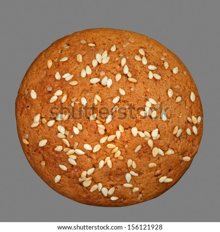 Oatmeal cookies isolated on grey background