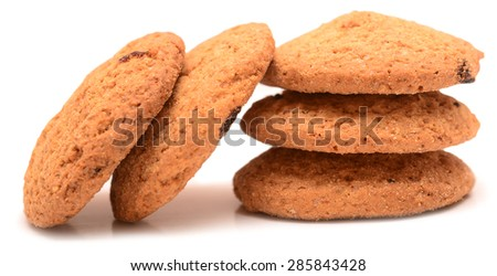 oatmeal cookies isolated on white background - stock photo