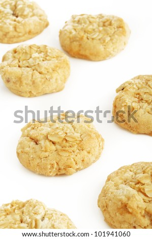 Oatmeal cookies on white
