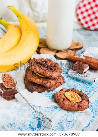 oatmeal cookies with chocolate and banana with almond milk, healthy desserts