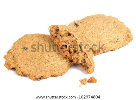 Oatmeal Cookies with Crumbs Isolated on White Background