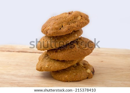 Oatmeal cookies with raisin - stock photo