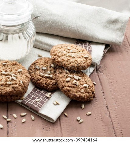 Oatmeal cookies with sunflower seeds. - stock photo