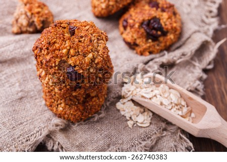 Oatmeal liver with hazelnuts and dried cranberries.selective focus