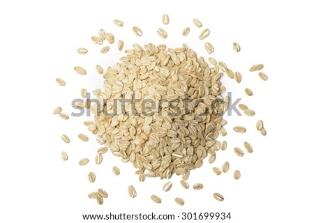 oatmeal on the white background, top view - stock photo