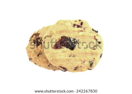 oatmeal raisin cookies isolated on white - stock photo