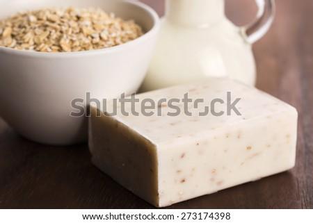 Oatmeal soap - stock photo