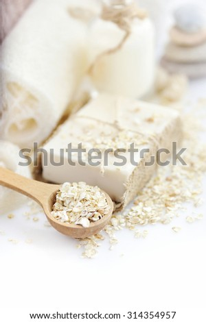 Oatmeal Soap handmade for a natural clean on a white background