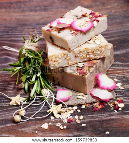 Oatmeal soap  with roses - stock photo