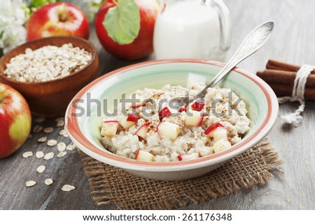 Oatmeal with cinnamon and caramelized apples in the  bowl - stock photo