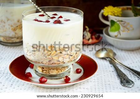 oatmeal with greek yogurt and pomegranate berries - stock photo