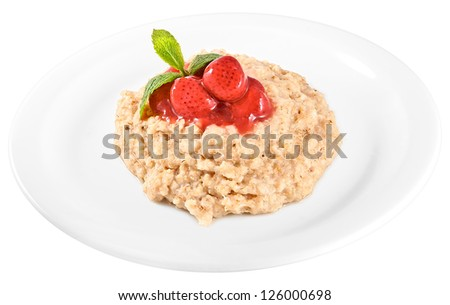 Oatmeal with strawberry isolated on white - stock photo