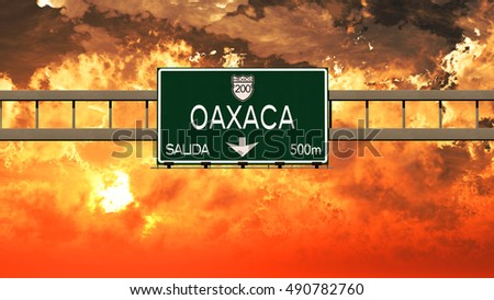 Oaxaca Mexico Highway Sign in a Breathtaking Sunset Sunrise 3D Illustration